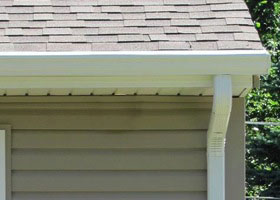 front view of house gutters