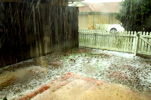 BRISBANE - NOVEMBER 18: Storms dump hail the size of golf-balls on November 18, 2013 in Brisbane, Qu
